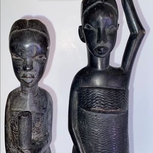 Vintage Hard-crafted African Wood Women Figures